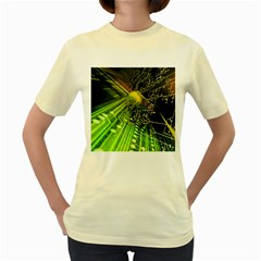 Electronics Machine Technology Circuit Electronic Computer Technics Detail Psychedelic Abstract Patt Women s Yellow T Shirt