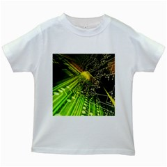 Electronics Machine Technology Circuit Electronic Computer Technics Detail Psychedelic Abstract Patt Kids White T Shirts
