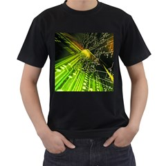 Electronics Machine Technology Circuit Electronic Computer Technics Detail Psychedelic Abstract Patt Men s T Shirt (black) (two Sided)