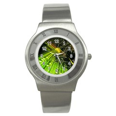 Electronics Machine Technology Circuit Electronic Computer Technics Detail Psychedelic Abstract Patt Stainless Steel Watch