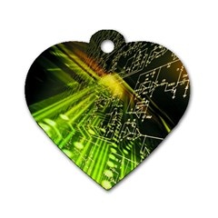 Electronics Machine Technology Circuit Electronic Computer Technics Detail Psychedelic Abstract Patt Dog Tag Heart (one Side)