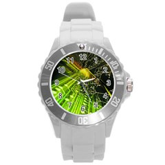 Electronics Machine Technology Circuit Electronic Computer Technics Detail Psychedelic Abstract Patt Round Plastic Sport Watch (l)