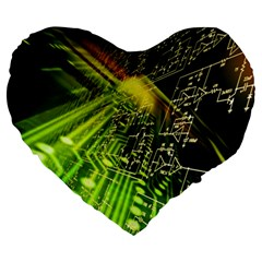 Electronics Machine Technology Circuit Electronic Computer Technics Detail Psychedelic Abstract Patt Large 19  Premium Flano Heart Shape Cushions