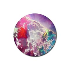 Clouds Multicolor Fantasy Art Skies Rubber Round Coaster (4 Pack)