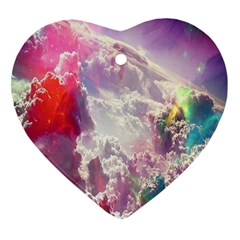 Clouds Multicolor Fantasy Art Skies Heart Ornament (two Sides)