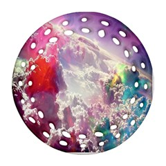 Clouds Multicolor Fantasy Art Skies Round Filigree Ornament (two Sides)
