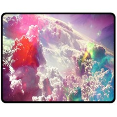 Clouds Multicolor Fantasy Art Skies Double Sided Fleece Blanket (medium)