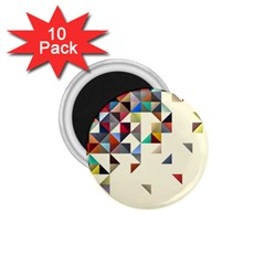 Retro Pattern Of Geometric Shapes 1 75  Magnets (10 Pack)