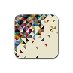 Retro Pattern Of Geometric Shapes Rubber Square Coaster (4 Pack)