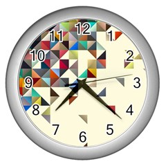 Retro Pattern Of Geometric Shapes Wall Clocks (silver)