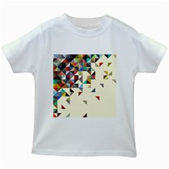 Retro Pattern Of Geometric Shapes Kids White T Shirts