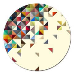 Retro Pattern Of Geometric Shapes Magnet 5  (round)