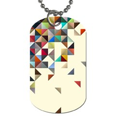 Retro Pattern Of Geometric Shapes Dog Tag (one Side)