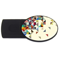Retro Pattern Of Geometric Shapes Usb Flash Drive Oval (2 Gb)