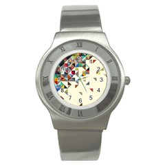 Retro Pattern Of Geometric Shapes Stainless Steel Watch