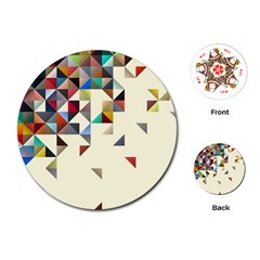 Retro Pattern Of Geometric Shapes Playing Cards (round)