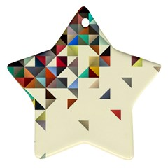 Retro Pattern Of Geometric Shapes Star Ornament (two Sides)