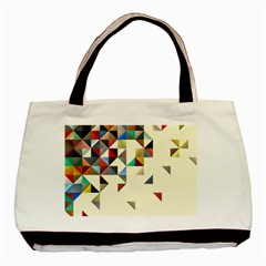 Retro Pattern Of Geometric Shapes Basic Tote Bag (two Sides)