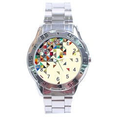 Retro Pattern Of Geometric Shapes Stainless Steel Analogue Watch