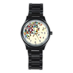 Retro Pattern Of Geometric Shapes Stainless Steel Round Watch
