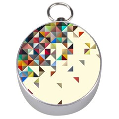 Retro Pattern Of Geometric Shapes Silver Compasses