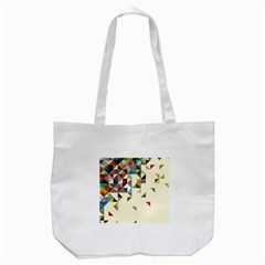 Retro Pattern Of Geometric Shapes Tote Bag (white)
