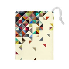 Retro Pattern Of Geometric Shapes Drawstring Pouches (large)