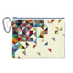 Retro Pattern Of Geometric Shapes Canvas Cosmetic Bag (l)