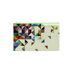 Retro Pattern Of Geometric Shapes Cosmetic Bag (xs)