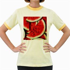 Fresh Watermelon Slices Texture Women s Fitted Ringer T Shirts
