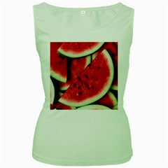 Fresh Watermelon Slices Texture Women s Green Tank Top