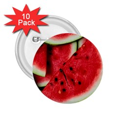Fresh Watermelon Slices Texture 2 25  Buttons (10 Pack)