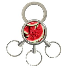 Fresh Watermelon Slices Texture 3 Ring Key Chains
