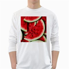 Fresh Watermelon Slices Texture White Long Sleeve T Shirts