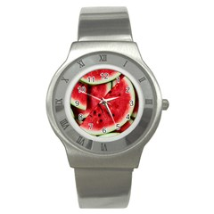 Fresh Watermelon Slices Texture Stainless Steel Watch