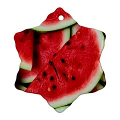 Fresh Watermelon Slices Texture Ornament (snowflake)