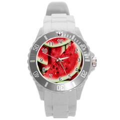 Fresh Watermelon Slices Texture Round Plastic Sport Watch (l)