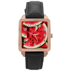 Fresh Watermelon Slices Texture Rose Gold Leather Watch