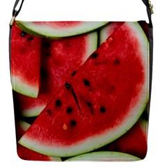 Fresh Watermelon Slices Texture Flap Messenger Bag (s)