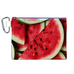 Fresh Watermelon Slices Texture Canvas Cosmetic Bag (xl)