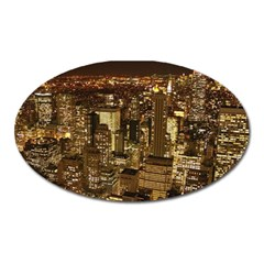 New York City At Night Future City Night Oval Magnet