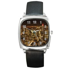 New York City At Night Future City Night Square Metal Watch