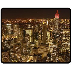 New York City At Night Future City Night Fleece Blanket (medium)