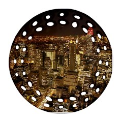 New York City At Night Future City Night Round Filigree Ornament (two Sides)