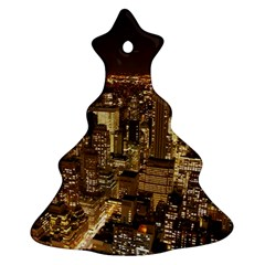 New York City At Night Future City Night Christmas Tree Ornament (two Sides)