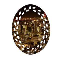 New York City At Night Future City Night Oval Filigree Ornament (two Sides)
