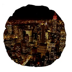 New York City At Night Future City Night Large 18  Premium Round Cushions