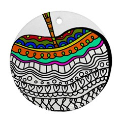 Abstract Apple Art Colorful Ornament (round)