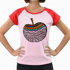 Abstract Apple Art Colorful Women s Cap Sleeve T Shirt