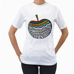 Abstract Apple Art Colorful Women s T Shirt (white) (two Sided)